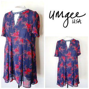 UMGEE USA Floral Boho Flowy Navy Dress